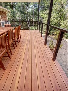 Outdoor patio with durable non combustible timber decking