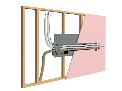 Innovative split system wall mount bracket with integral fire rated intumescent penetration seal