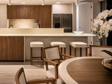 Pacific Penthouse features Corian® colours Clam Shell and Natural Grey