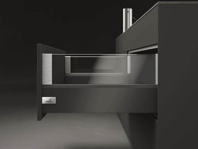 black drawer open glass and chrome finishes
