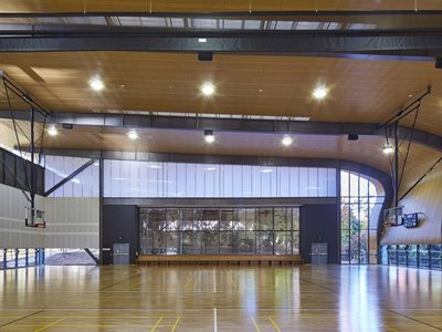 sports hall acoustic timber ceiling