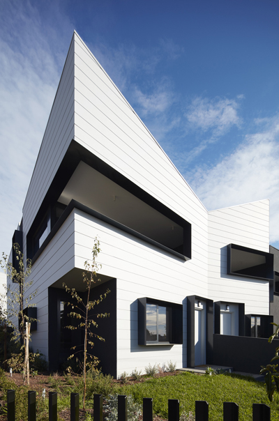 contemporary townhouse pitched corner