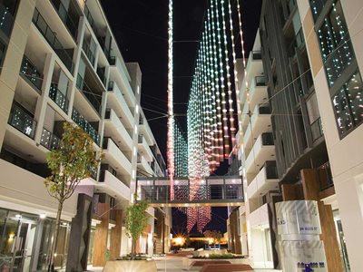 Aurora at Subiaco Strand catenary cable lighting