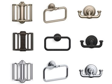 The Artifacts collection by Kohler in oil-rubbed bronze, vibrant brushed bronze and polished chrome finishes