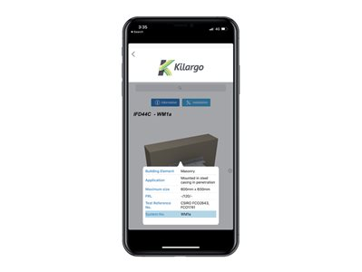 Kilargo AutoCAD Revit Selector App Detailed Product View on Iphone