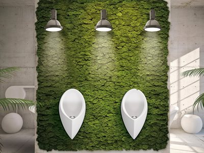 Uridan waterless urinal on greenwall