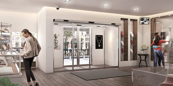 Jewellery shop interior with sliding doors