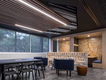 Staff breakout room: SUPASLAT Aluminium slats in profile A3 have been cleverly used on the ceiling