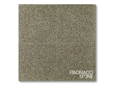 An arrangement of 4 Fibonacci Stone Earth Terrazzo Stone Tiles - each tile at 400x400mm