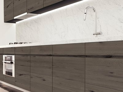 Kitchen interior with durable melamine panels
