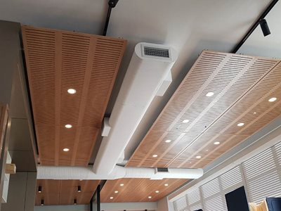 ceiling panels integrated lights office interior