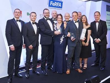 Flowcrete accepting the Large Industrial Project Award at the FeRFA Awards 2018