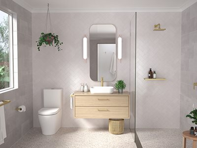 Luna Brass Chrome Residential Bathroom Interior