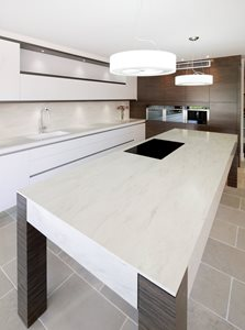 Art of Kitchens Corian island and benchtop with integrated sink and splashback