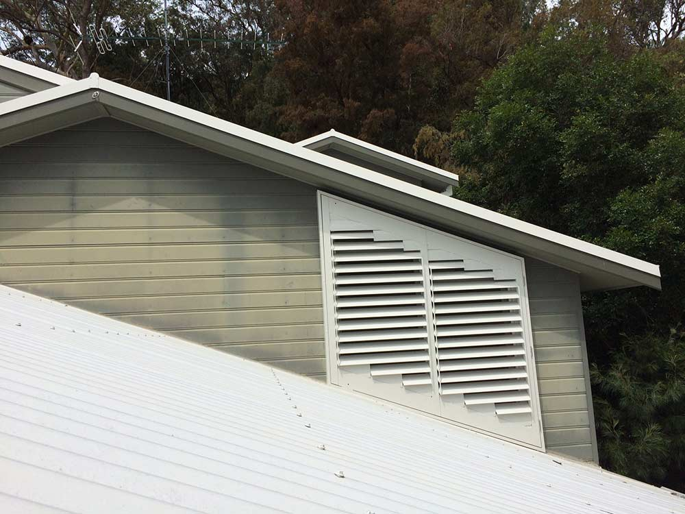 Exterior view of plantation shutters on roof