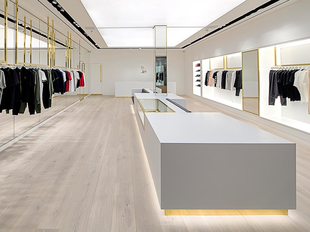Ovo London store interior with engineered timber flooring