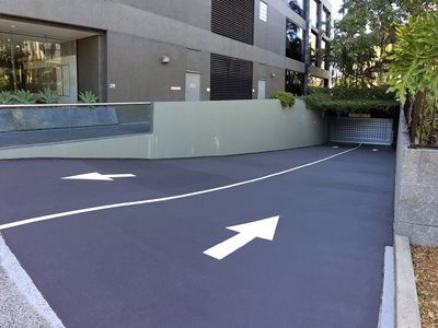 Detailed car park driveway with arrows