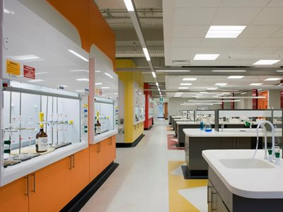 Corian Glacier White sinks and lab benches Melbourne University Chem Lab