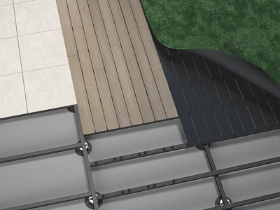 Product render of Outdure decking turf and tiles frame system