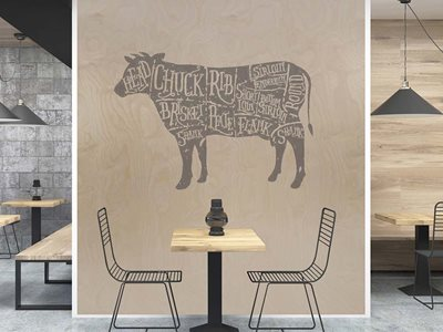 Restaurant interior with plywood decorative surface finishes