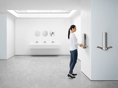 Dyson Airblade 9KJ insitu image with skylight in womens washroom