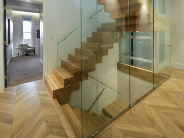 Glass balustrades in the stairwell