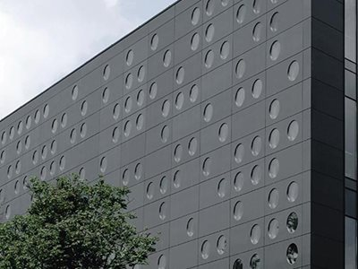 Equitone Natura through coloured fibre cement material on building facade