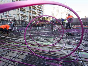 hydronic pink wire construction site steel reinforced for slab