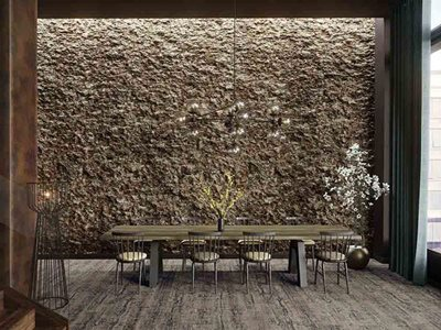 Hospitality interior with cork wall cladding
