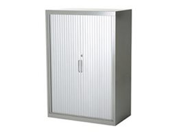 Tambour Door Cabinets for easily storing office supplies by Davell Products