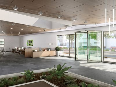 Rendered image of modern office interior with glass revolving door system