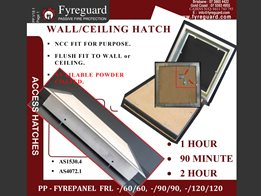 Screw fixed – Ceiling/wall: 1 hour, 90 minute & 2 hour FYREPANEL