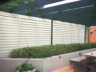 Ourdoor patio with plantation shutters