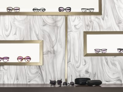 Corian Sunglass store display wall shelves and counters