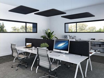 Office interior of workstations with acoustic screens