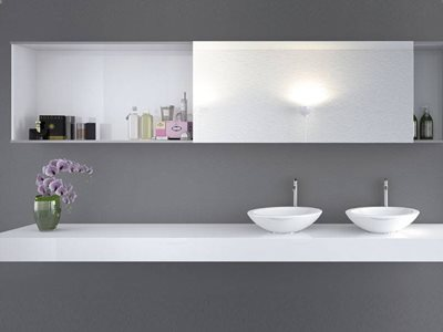 Hettich sliding doors on modern kitchen cabinet