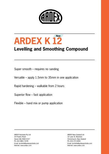 ARDDEX K 12 New Levelling and Smoothing Compound