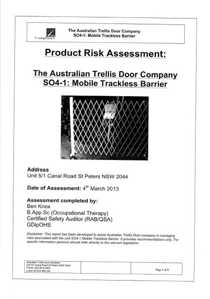 product Risk Assessment-S04: Mobile Trackless Barrier