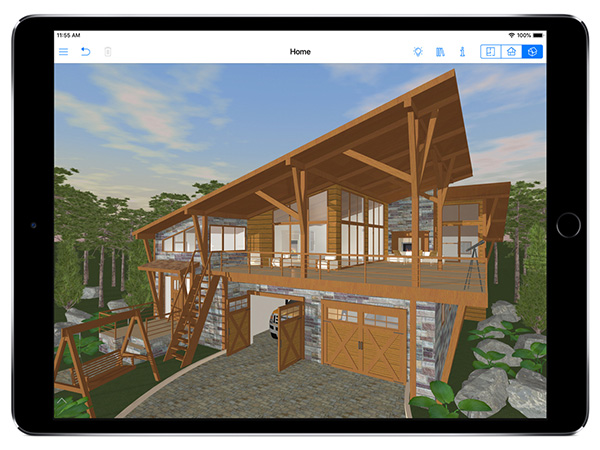 Home design app with timber house in landscape
