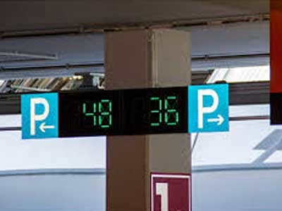 The car park occupancy data is indicated on LED displays installed on every car park level