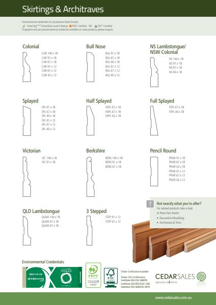 Cedar Sales Skirtings Fact Sheet