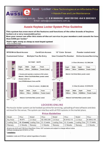 Aussie Keyless Locker System Price Guideline