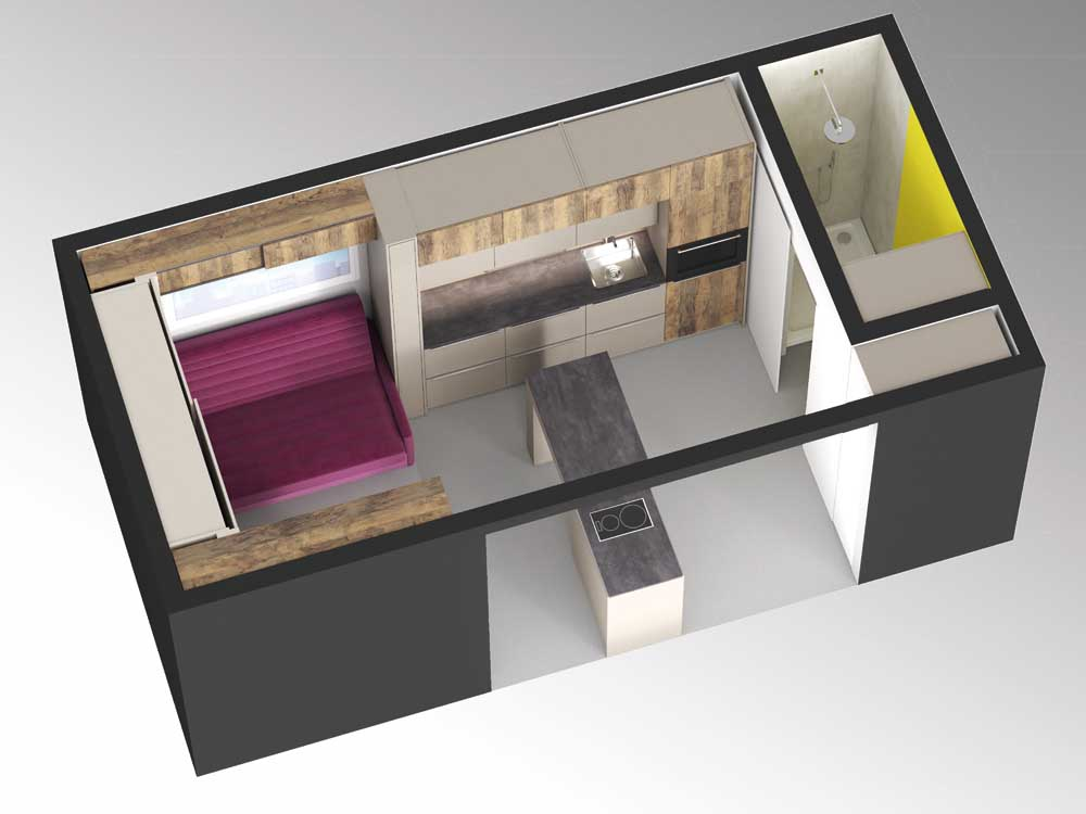 18m² of living space feature intelligent Hettich storage solutions from floor to ceiling