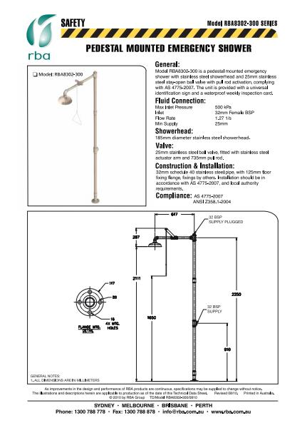 Pedestal mounted emergency shower
