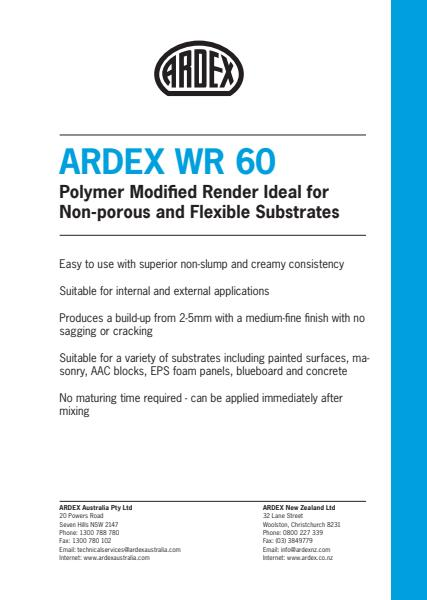 ARDEX WR 60 Polymer Modified Render for Non-porous and Flexible Substrates
