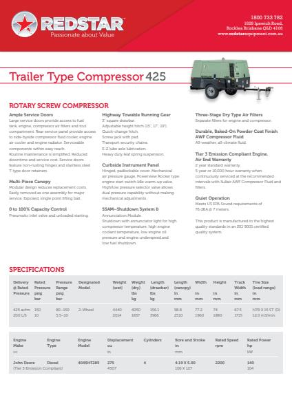 Trailer Type Compressor 425