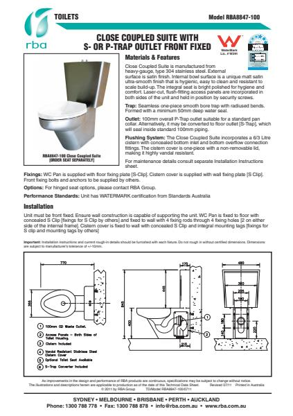 Watermarked Closed Coupled Suite Toilet