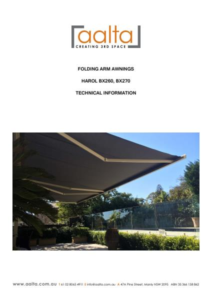 Folding Arm Awnings technical information