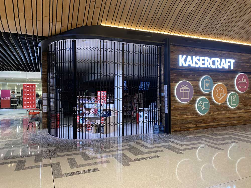ATDC's S08 curved security shutters at Kaisercraft Robina