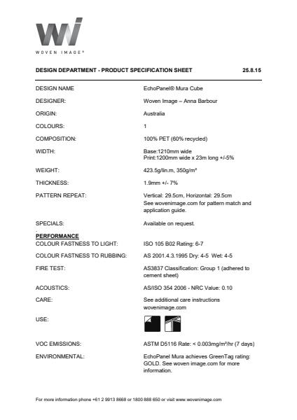 Woven Image MURA CUBE specification sheet